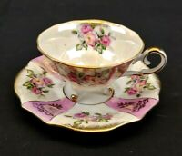 L M Royal Halsey Very Fine Tea Cup and Saucer Roses Pink with Gold Trim
