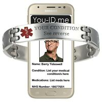 Alert bracelet mens medical ID engraved metal emergency contact service SOS ICE