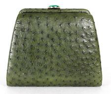 BENNIS EDWARDS Olive Green Ostrich Skin Malachite Clasp Clutch Bag