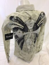 ROAR WOMENS Long Sleeve Shirt Button Down WESTERN MULTI COLOR STONES SMALL 120