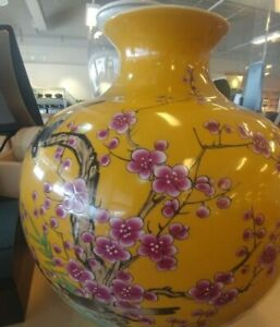 Williams Sonoma Yellow Hummingbird Ginger Jar Gourd Vase New wo box