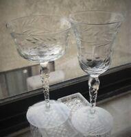 Two Single Elegant Cut/Etched Crystal Wine & Apartif Glasses