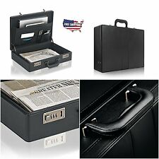Business Leather Briefcase Mens Portfolio Black Messenger Laptop Hard Case Bag