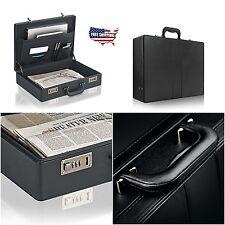 Business Leather Briefcase Mens Portfolio Black Messenger Laptop Hard Case Bag