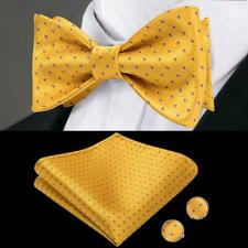 US Mens Bow Tie Silk Purple Small Dot Yellow Self Bowtie Hanky Set Classical