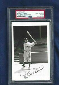Bobby Doerr Autographed Boston Red Sox Baseball Brace Postcard Photo PSA SLAB