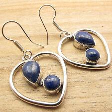 "Length 1.7"" ! Silver Plated Art Jewelry Lapis Lazuli 2 Gem Love Heart Earrings"