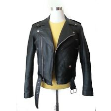 Verducci Men Size 36 Motorcycle Leather Black Jacket Biker Belted Warm Lined