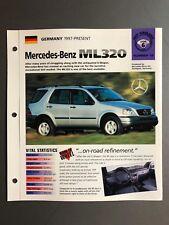 "1997 > Mercedes-Benz ML 320 IMP ""Hot Cars"" Spec Sheet Folder Brochure Awesome"