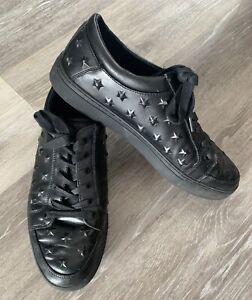 Kurt Geiger Mens Black Leather Studded Effect Trainer Pumps Size 9 Trend