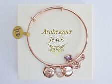 ARABESQUES LOVE HEARTS CHARM BANGLE/BRACELET GENUINE STERLINA MILANO. ROSE GOLD