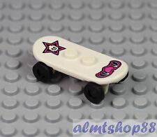 LEGO - White & Pink Skateboard - Minifigure Accessory Skate Board Skater Skull