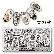 Nail Art Stamping Plate Happy Easter Image 1Pc Manicure Template Harunouta L033