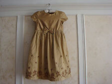 NWT JANIE AND JACK GIRLS GOLD EMBROIDERED BOW SILK DRESS 8