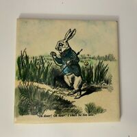 H & R Johnson | White Rabbit | Alice in Wonderland | Vintage 6 x 6 Tile | RARE
