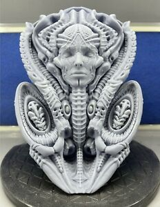 H.R Giger Inspired Alien Mother Wall Statue Gray UV Resin Unpainted