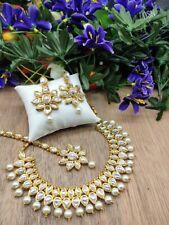 Indische Mode Braut Hochzeit Kundan Perlenschmuck Halskette Ohrringe Set