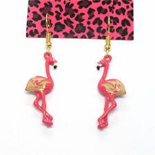 Betsey Johnson Cute Rose Enamel Flamingo Bird Crystal Women Stand Earrings