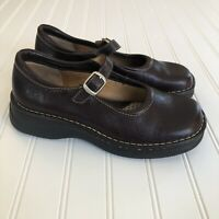 Born B6384 Womens Brown Leather Mary Jane Shoe Size 8 EUR 39 Buckle Strap Flats