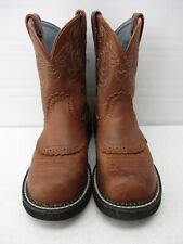 ARIAT FAT BABY WOMEN'S BROWN SADDLE LEATHER PULLON WESTERN COWGIRL BOOTS  8C