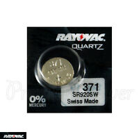 1 x Rayovac 371 battery Silver Oxide 1.55V SR69 SR920W 370 V371 Watches Swiss
