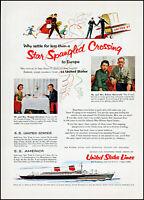 1955 United States Lines cruise S.S. United States retro photo print ad S24