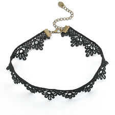 Fashion Goth Women's Crystal Black Lace Chain Pendant Choker Bib Necklace Party
