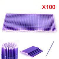 100Stk Swab Micro Brush Einmal Microbrush Applikatoren Wimper Erweiterung LIla