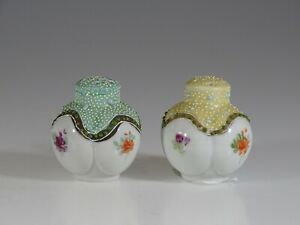 Antique Victorian Green and Yellow Lobe Salt and Pepper Shakers, England c.1890