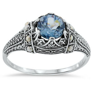 VICTORIAN ANTIQUE STYLE 925 SILVER SIM AQUAMARINE SEED PEARL RING SIZE 9    #153