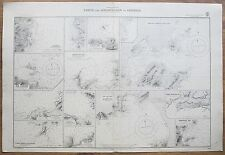 1874 PORTS & ANCHORAGES IN CORSICA GENUINE VINTAGE ADMIRALTY CHART MAP
