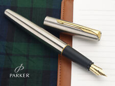 Parker Frontier Stainless Steel GT Fountain Ink Pen SS Gold Trim Chrome