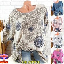 Plus Size Women Casual Long Sleeve Blouse Baggy Tops Ladies Holiday T Shirt 6-24