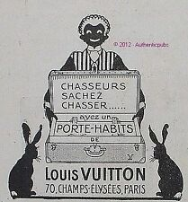 PUBLICITE LOUIS VUITTON PORTE HABITS CHASSEUR GROOM LAPIN BAGAGE DE 1924 ADVERT