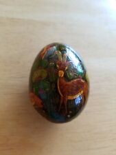 Collectible Decoupage Decorated Egg, 5 Deer Type Animals 1973.