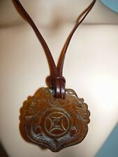 Vintage Chinese Carved Dragon Jade Pendant on cord, Necklace