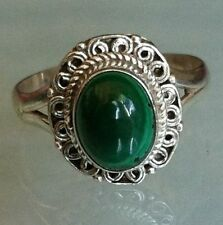 Sterling Silver Traditional Asian Vintage Style Malachite Stone Ring Size O Gift