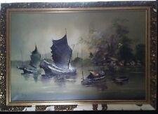 Large Ken Rose Signed Original Oil on Canvas. Painting of Junk Boat