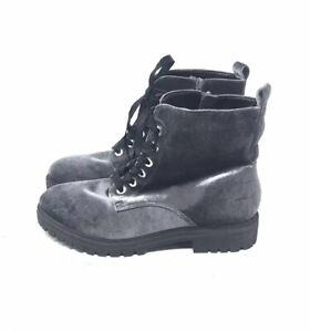 NWOB Mossimo Gray Velvet Combat Boots Women's Size 10