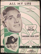 Vintage Sheet Music ALL MY LIFE Phil Regan LAUGHING IRISH EYES Republic 1936