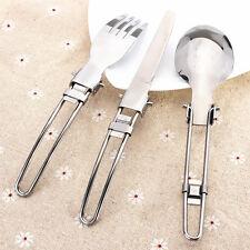 3 x Camping plegable cubiertos cuchillo tenedor cuchara de utensilios + bolsaPDQ