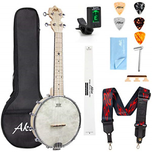 AKLOT Banjo Ukulele Concert 23 inch Remo Drumhead Open Back Maple Body 1:15 with