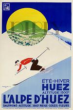 REPRO DECO AFFICHE HIVER ALPE D HUEZ ETE HIVER SKI 1937 PAPIER 310 OU 190 GRS