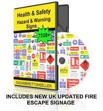 7500+ Health And Safety Warning Signs On CD / DVD - Hazard Fire Work Business