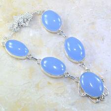 "Handmade Blue Chalcedony Quartz Gemstone 925 Sterling Silver Necklace 20"" G53326"