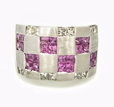 Pink Sapphire and Diamond Checkerboard Ring in 18k White Gold -- HM1846