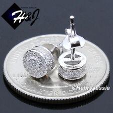 MEN WOMEN 925 STERLING SILVER LAB DIAMOND 6MM ICED ROUND 3D STUD EARRING*E133