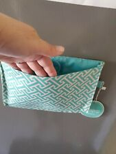 Mini Magnetic Pocket Jewel Print Initials Inc aqua/white 10×6×1in hold mail ++++