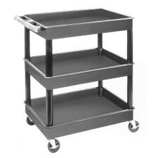 "Luxor TC111 Cart Serv Plas 3Tub Black 24""D X 32""W"