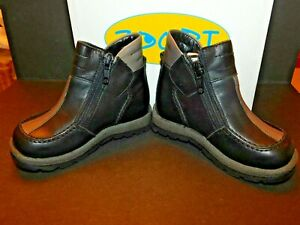 """ZOORI INFANT TODDLER """"LEVRIER"""" REAL LEATHER ZIP UP BLACK & GREY BOOTS BNIB"""
